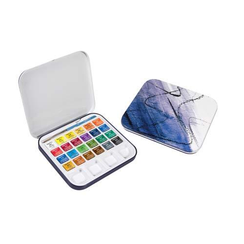 Set Metálico de Viaje de Acuarela DALER ROWNEY Aquafine, con 24 Colores Surtidos (24 Medio Godets) y Pincel