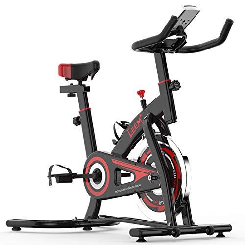 OUYA Bicicleta estática para Interiores con Monitor Digital LCD y Manillar y Asiento Ajustables, Soporte para iPad Bicicletas estacionarias para Gimnasio en casa Entrenamiento aeróbico,Negro