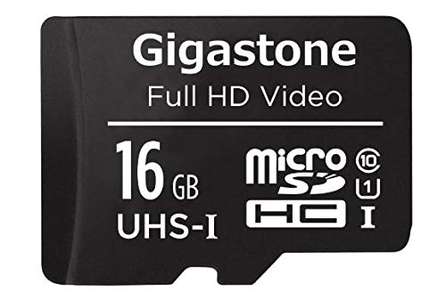 Gigastone 16GB Micro SD Card with Adapter, U1 C10 Class 10, Full HD Available, Micro SDHC UHS-I Memory Card – Full HD Video Series (1 Pack)