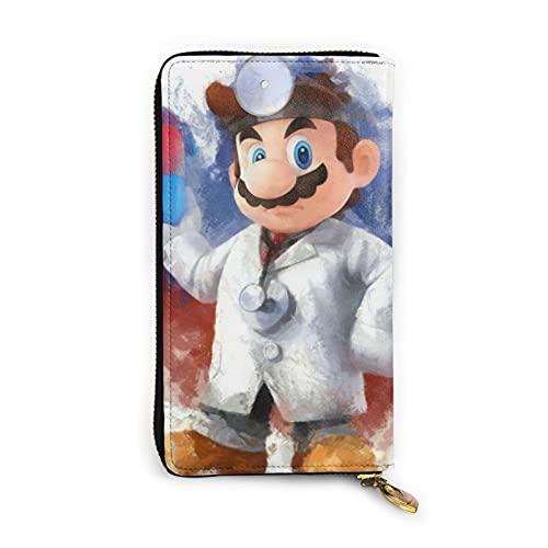 Videojuego Heroes Mario Cartera de cuero de moda con cremallera bolsa de muñeca Multi-tarjeta de teléfono móvil tarjeta de crédito bolsa de almacenamiento de monedas hombres y mujeres cartera