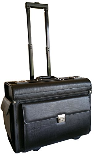 Large Wheeled Laptop Pilot Case in Grained Faux Leather Rolling Briefcase Business Bag on Wheels