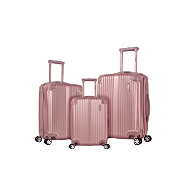 Rockland Hardside Spinner 3-Piece Luggage Set, Champagne/Rose Gold