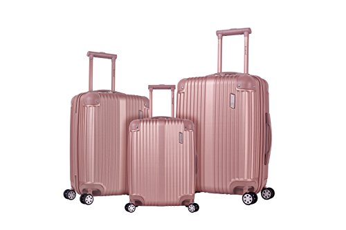 Rockland Berlin Hardside Expandable Spinner Wheel Luggage Set, Rose Gold, 3-Piece (20/24/28)