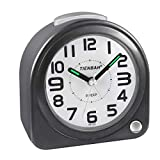 Yadelai Alarm Clock,Travel Alarm Clock, Bedside Alarm Clock Not Ticking,Luminous Batteries Snooze Rising Sound Alarm Silent Bedside Without Ticking, Simple Family/Office Travel Clock (Black)