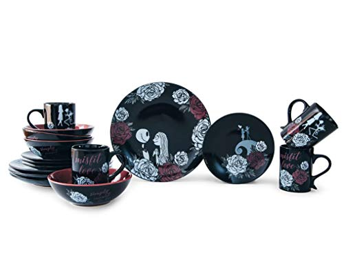 Underground Toys The Nightmare Before Christmas Jack and Sally Black Rose Wedding 16-Piece Dinnerware Set | Includes Dinner and Salad Plates, Soup Bowls, Mugs | Place Setting for 4