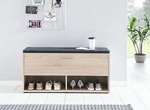 ambiato Sitzbank Eiche Sonoma mit Kissen Schuhregal Schuhbank Schuhschrank Natur Holz Nb. Made in Germany