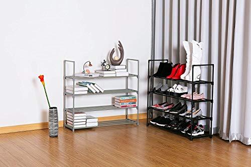 4-Tier Shoe Rack Metal Shoe Tower 20-Pair Shoe Storage Organizer Unit Entryway Shelf Stackable Cabinet with 4 Tiers Durable Metal Shelves in Black (Color : Grey)