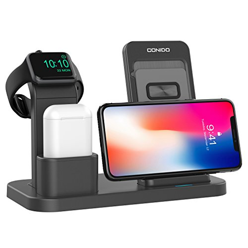 Conido Wireless Charger for iPhone, 3 in 1 Charging Stand for Apple Series Watch 5/4/3/2/1/, AirPods Pro 2 1 Charging Dock, Charging Station Compatible iPhone SE 2020,11 Pro Max, XS Max, XR, X, 8 Plus
