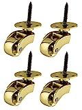 Ruedas de latón macizo de alta calidad con ruedas de 22 mm – latón pulido genuino – antiguo vintage – ajuste estilo tornillo – latón pulido – Empresa del Reino Unido – Juego de 4