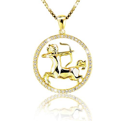 PAVEL´S Elegante collar para mujer con signo del zodiaco Sagitario chapado en oro de 18 quilates con cristales brillantes de la colección Shine, incluye una elegante caja de regalo de PAVEL'S