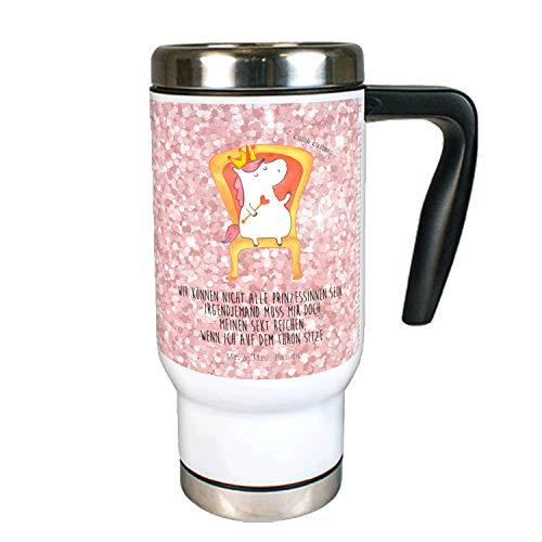 Mr. & Mrs. Panda Thermotasse, Kaffeebecher, Edelstahl Thermobecher Einhorn König mit Spruch - Farbe Glitzer Rosa