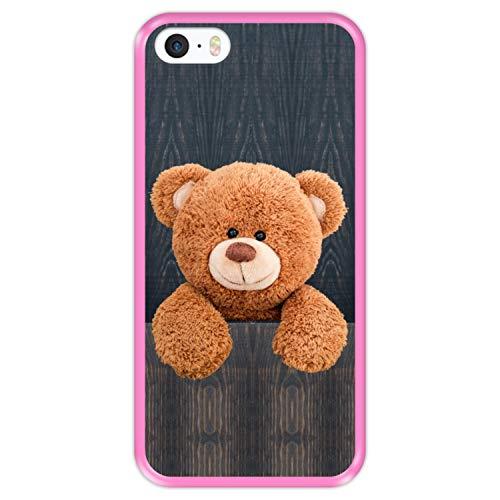 Hapdey Custodia per [ iPhone 5 5S SE ] Disegni [ Tenero Orsacchiotto Dietro Un recinto ] Cover Guscio in Silicone Flessibile Rosa TPU
