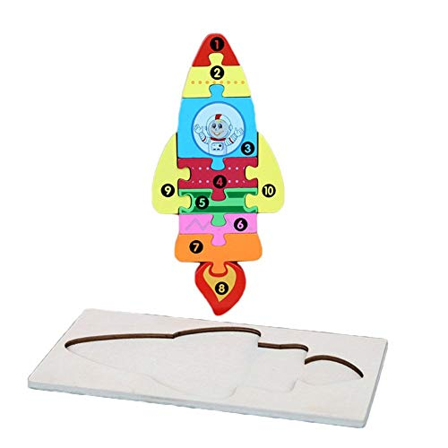 Nikgic. Bunt Puzzlespiele zum Kleinkinder Kinder 18 Monate alt Oben Hölzern Rakete Puzzles mit Rückwand Spaß pädagogisch Spiel Geschenk zum Jungen Mädchen Geburtstag Kindertag Party Weihnachten