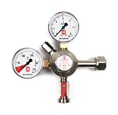 Hiwi Premium-Druckregler für Bierzapfanlagen, 3 bar, 1-leitig, 2 Manometer, für CO2-Mehrwegflasche