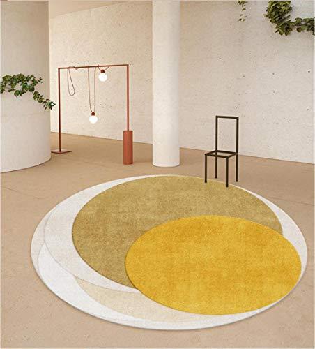 Teppiche im geometrischen Stil Teppich Gelbbraun Grau Runder Teppich mit großer Fläche für den Eingangsbereich des Wohnzimmers Bodenmatte Piano Pad Durchmesser 80 100 120 140 160 180 200 300 cm-120CM