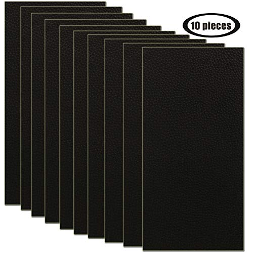 10 Pieces Leather Patches Leather Repair Kit for Couch Furniture Sofas Car Seats Handbags Jackets 3.9 x 7.9 inch/pcs (Black)