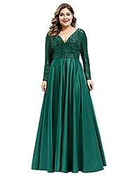 Green V-Neck Sequin Patchwork Plus Size Dress 0817