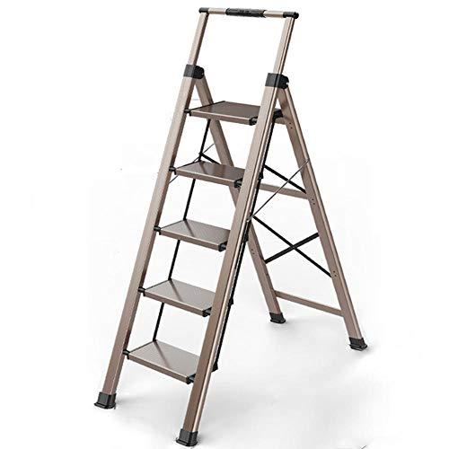 Upgrade 4 Escalera Doméstica de 4 Peldaños Antideslizantes |Taburete Plegable de Cocina de 4 Escalones | Escalerilla de Aluminio Estilo de Madera Escandinava