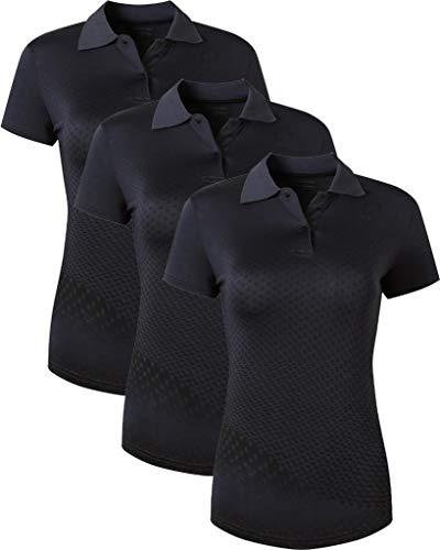 jeansian 3 Packs Damen Sport Poloshirt Polo Tee Shirt Tshirt T-Shirt Kurzarm Golf Tennis Badminton Dry Fit SWT251 PackA M