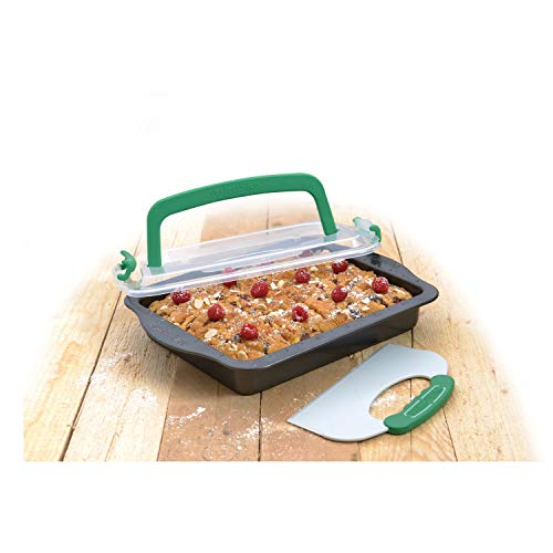 Perfect Slice 9-inch X 13-inch Covered Cake Pan with Tool Black Rectangle Carbon Steel