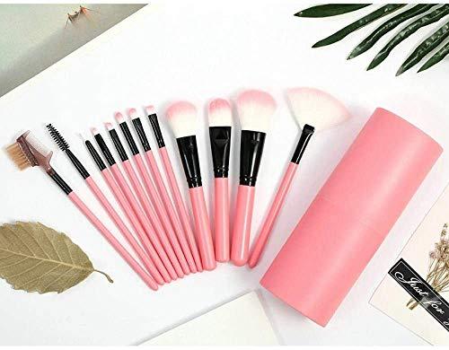 Caso cepillo de base 12pcs del maquillaje del sistema de cepillos Maquillaje Ventilador de Sombras en Polvo Pincel con el sostenedor rosa Copa BTZHY