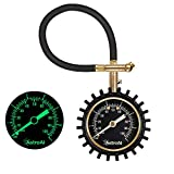 AstroAI Heavy Duty Tyre Pressure Gauge, 100 PSI Certified ANSI B40.1 Accurate with Large 2' Easy Read Glow Dial, Durable Rubber Hose and Solid Brass Construction for Car Truck Motorcycle