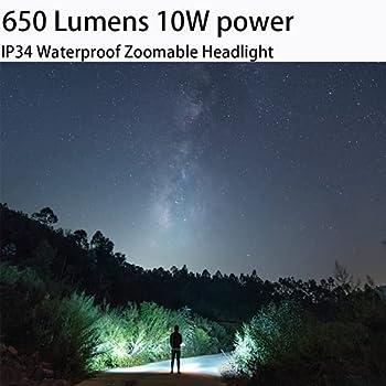 SuperFire HL58 Led Frontale Lampe Frontale Rechargeable Torche De Longues Heures de Travail Frontale à Ultra-léger LED de 650 Lumens , 3 Modes de Mouvement pour Night, Promenade, Pêche, Vélo, Camping