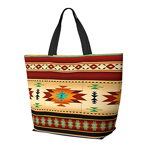 Navajo Decke Streifen Schultertasche Multifunktionale Große Kapazität Handtasche Tablet Taschen Leichte Arbeit Tote Bag Weekender Reisetasche Strandsack für Frauen