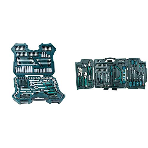 Brüder Mannesmann M98430 Steckschlüsselsatz 0,6 cm (0,25 Zoll) + 0,95 cm (3/8 Zoll) + 1,27 cm / (1/2 Zoll) Antrieb, 215-tlg & M29085 29085 Premium Universal und Haushalts-Werkzeugkoffer, 89-tlg, Blau
