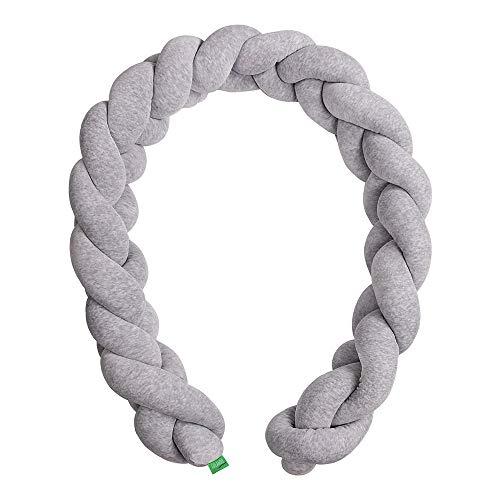 LULANDO Bettschlange im Zopfmuster aus Velours, Nestchenschlange, Bettnestchen, Erhältlich in zwei Größen: 200 cm oder 300 cm, Höhe: ca. 17 cm, EU hergestellt, Farbe: 300 cm, Farbe: Grey