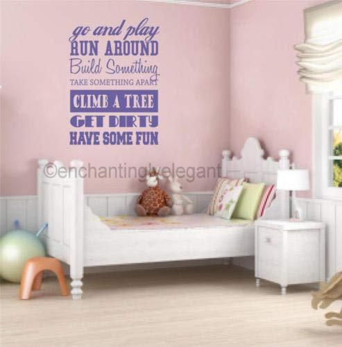 Sticker mural en vinyle pour chambre d'enfant Motif « Go and Play Run around »