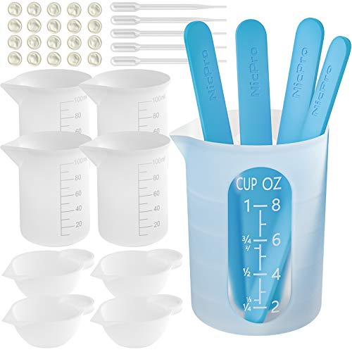 Silicone Resin Measuring Cups Tool Kit- Nicpro 250 & 100 ml Measure Cups, Silicone Popsicle Stir Sticks, Pipettes, Finger Cots for Epoxy Resin Mixing, Molds, Jewelry Making, Waxing, Easy Clean