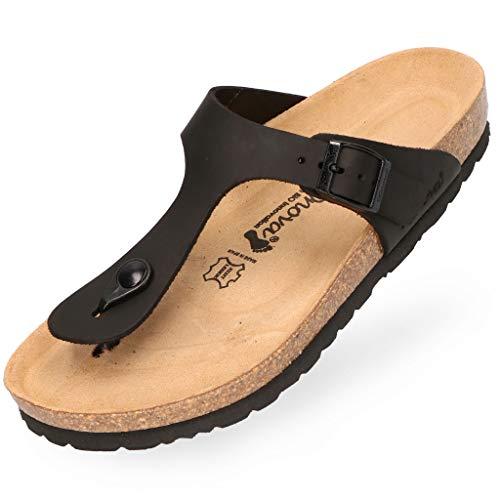 BOnova Ibiza Fettleder schwarz in Größe 41 aus hochwertigem Echtleder. Damen-Zehentrenner mit anatomisch geformten Kork-Fußbett. Stylische Pantolette zum Wohlfühlen