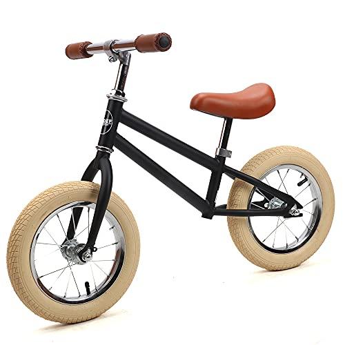 Sjoef Laufrad Retro |Kinderlaufrad Lauflernrad Kinderrad für Jungen und Mädchen ab 3 Jahren | 12 Zoll Räder | Verstellbarer Sattel (43-48cm) - Matt Schwarz