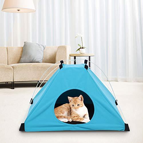 ZheHanWUFB Tienda de campaña para mascotas para perros, cachorros, gatos, cama de lona azul para perros, casa linda tienda para mascotas adecuada para gatos pequeños y perros (azul)