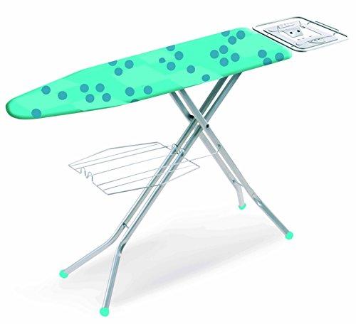 casabriko Luna – Table à repasser avec large plan en réseau d'acier (120 x 38 cm). Large portacaldaia et grille à linge. Pieds antidérapant et anti-rayures.Hauteur réglable.