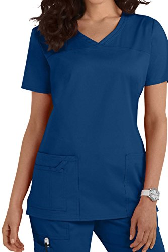 Smart Uniform 1122 V Neck Top (M, Blau [Blue])