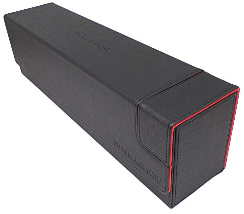 docsmagic.de Premium Magnetic Tray Long Box Black/Red Large - Card Deck Storage - Kartenbox Aufbewahrung Transport Schwarz/Rot