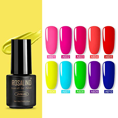 Rosalind Neon Gel Nagellack Set, Soak Off UV lace LED Gel Nagellack Manicure Beauty Nails Salon 10 x 7 ml