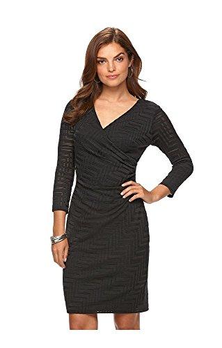 Chaps Womens Chevron Knit Faux Wrap Dress, Black, Size 12