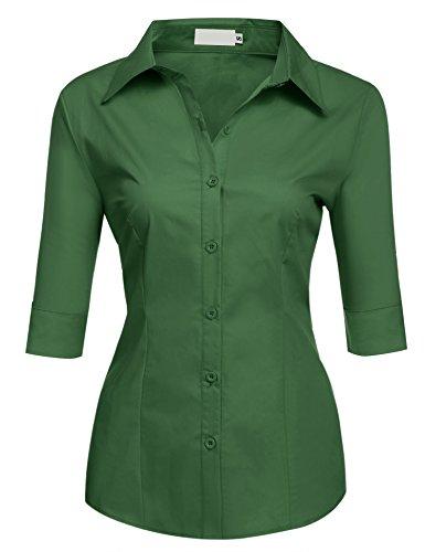 BeautyUU Damen Elegante Figurbetonte Bluse Business Hemd Tailliert Oberteil 3/4 Ärmel Armeegrün M