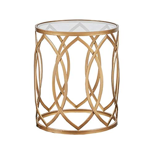 KAISIMYS Side Table, Metal Barrel End Table, Modern Style End Tables, for Living Room Round Side Table, Black/Golden Accent Table,Gold