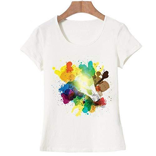 XIAOBAOZITXU Nieuwste Kleur Geschilderde Lamp Ontwerp Vrouwen T Shirt Tops Korte mouw Tees (Kleur)