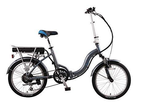 Basis Osprey Folding Low Step Electric Bike 13in Frame, 20' Wheel - Grey/Blue (8.8ah Battery)