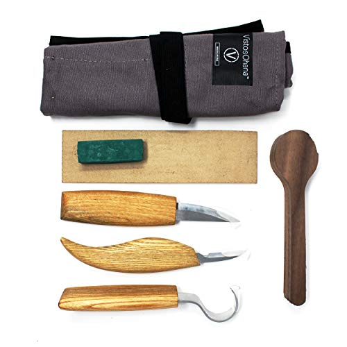 VistosoHome Wood Carving Kit - Multi-Knife Set with Hook Knife, Detail Knife and Whittling Knife for Wood Carving Projects - Additional Black Walnut Wood for Spoon Project