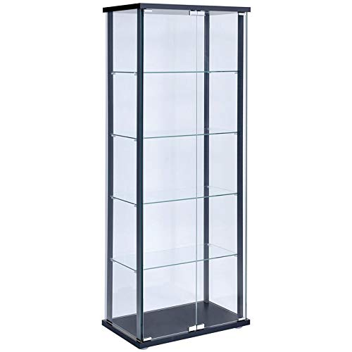 BOWERY HILL 5 Shelf Contemporary Glass Curio Cabinet with Black Ladder Frame