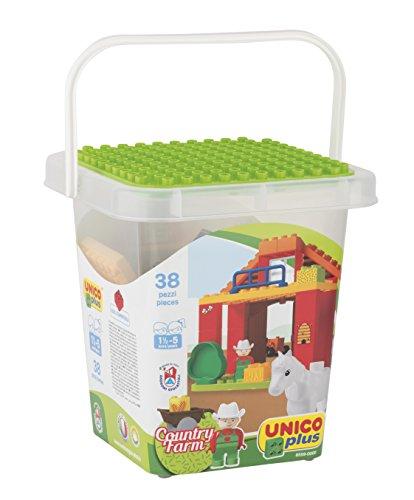 Unico - Androni - Cubo de Granja con Tapa y Base de construcción, Multicolor, 8559-0000