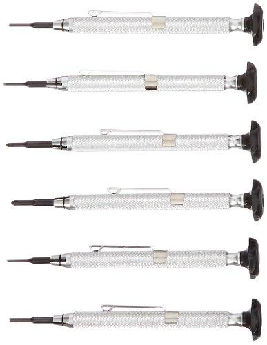 Moody Tools 58-0670S 6-Piece Slot/Phil/Screw Extractor Combo Reversible Driver Set, Silver Aluminum Handles