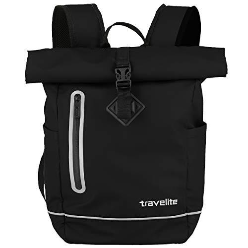 Travelite Basics Rollup Plane Rucksack wasserfester Kurierrucksack Daypack Backpack 96314, Farbe:Schwarz
