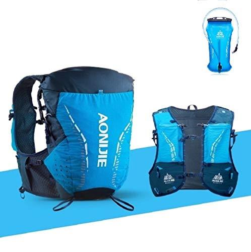 Mochila para correr deporte al aire libre 18L hidratación chaleco mochila unisex montar senderismo mochilas 2L agua vejiga, aonijie (azul, S/M)